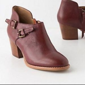 Anthropologie Schuler & Sons red leather booties 7